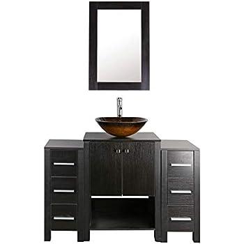 48 black bathroom vanity and sink combo mdf wood cabinet - Bathroom vanity and mirror combo ...