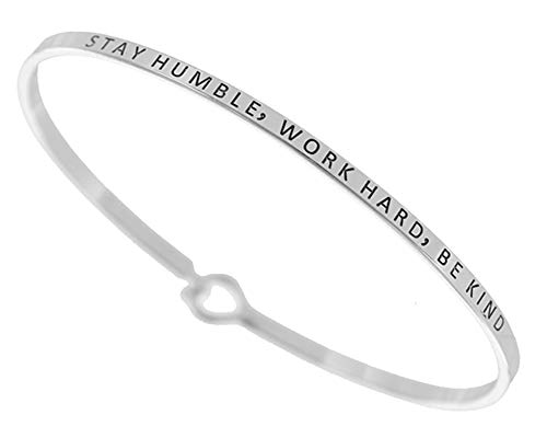 Story Collection Women's -Stay Humble, Work Hard, BE Kind- 3mm Message Silver Plated Brass Bangle Bracelets (Silver)