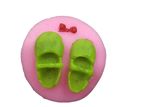 Sugarpaste Moulds Baby Girl Shoe Cupcake Decorating Molds Twin 3D Baby Shoe Pair with Bow Silicone Mould for Cake Icing Decoration
