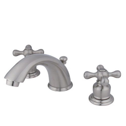 Kingston Brass KB968AX Victorian Widespread Lavatory Faucet with Metal Cross Handle, Satin Nickel Satin Nickel Adjustable Spread