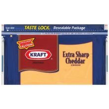Kraft Natural Extra Sharp Colored Cheddar Chunk Cheese, 8 Ounce -- 12 per case.