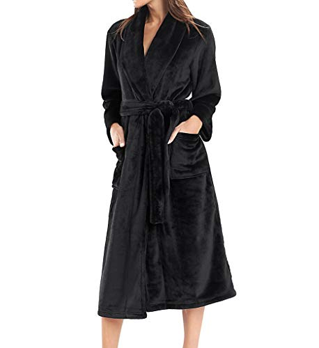 N Natori Women's Cashmere Fleece Robe, Black, - Natori Fleece Robe