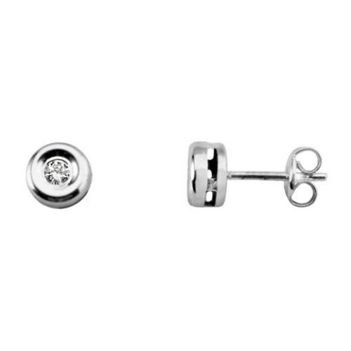 Boucles d'oreilles diamant 0,08Ct. or blanc 18K