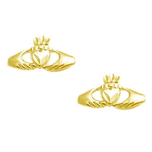 Ritastephens 14k Yellow Gold Claddagh Mini Stud Earrings