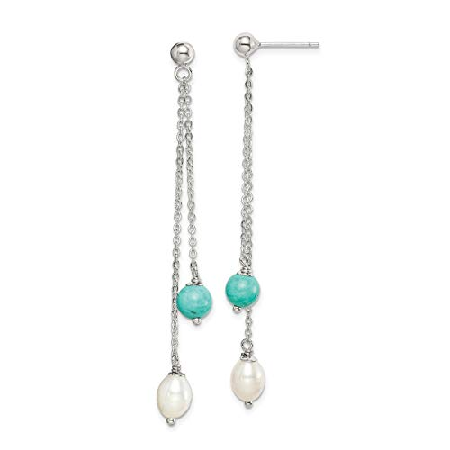 925 Sterling Silver Polished Turquoise & Freshwater Cultured Pearl Dangle Post Earrings ()