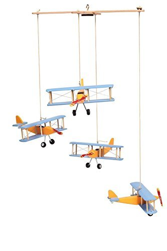 Hanging Airplane Mobile Children Kid Room Nursery Fly Vintage Decor Yellow Blue Wooden [並行輸入品]   B077S8D33Z