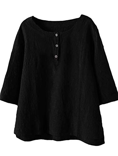 Minibee Women's 3/4 Sleeve Cotton Linen Jacquard Blouses Top T-Shirt (L, Black) ()