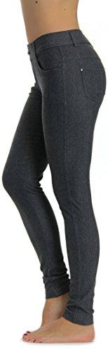 Prolific Health Women's Jean Look Jeggings Tights Yoga Many Colors Spandex Leggings Pants S-XXL (Large, Grey) - Open Mesh Value Vest