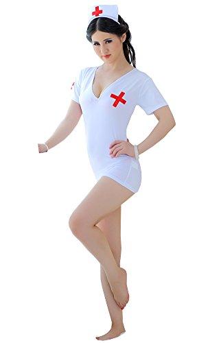 [FLLT Sexy Lingerie Naughty Mini Dress Nurse Costume Babydoll] (Plus Size Nurse Outfit)