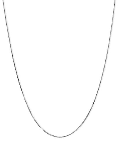 - Silver Platinum Plated Box Chain Necklace 925 Italy Silver 0.8mm 1mm 16