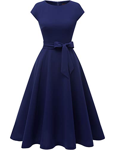 DRESSTELLS Women's Cocktail Party Dress Bridesmaid Swing Vintage Tea Dress with Cap-Sleeves Navy -