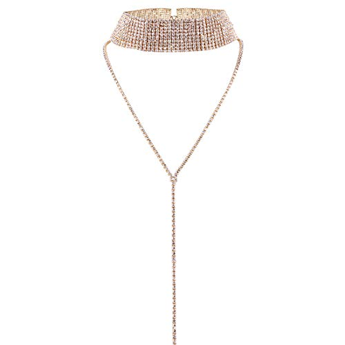 Nightclub Super Sexy Choker Necklace Double Layer Full Rhinestones Crystal Wide Collar Necklace (Gold) ()