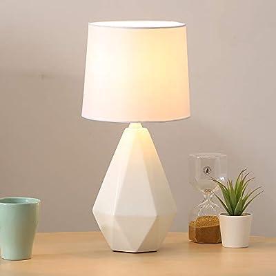SOTTAE Modern Ceramic Small White Irregular Geometric Livingroom Bedroom Bedside Table Lamp, Desk Lamp With White Fabric Shade