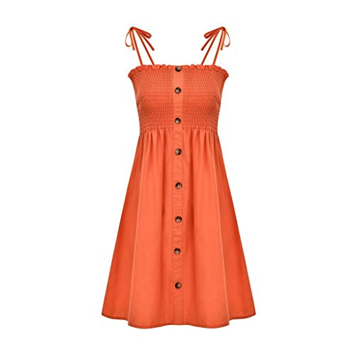 Kulywon Vintage Dress Sexy Womens Fashion Ladies Solid Color Bind Buttons Casual Mini Beach Dress Orange