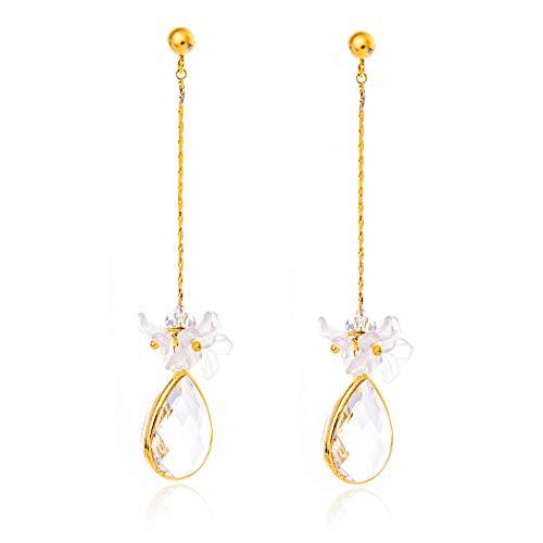 (KAMILLE Gold Dangle Statement Earrings - Long Stud Earrings for Women, Fashion Wedding Hypoallergenic Earrings (Clear Crystal + Flowers))