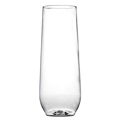 (Visions 10 oz. Clear Plastic Disposable Stemless Flute - 16/Pack)