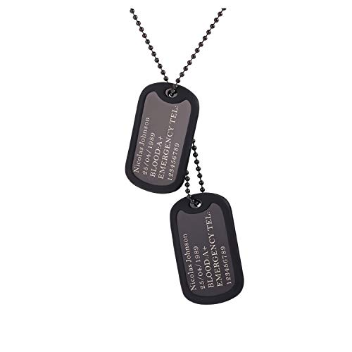 (U7 Custom Engraved 2 Pieces Dog Tags Pendant with Black Gun Plated Chain 23