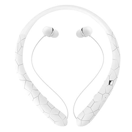 Bluetooth Headphones Retractable Neckband Stereo Headphones Newest Design Surface Earphone with Mic (Retractable White Stereo)