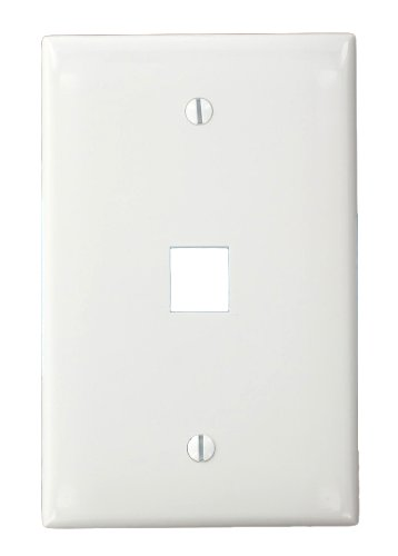 - Leviton 41091-1WN QuickPort Midsize Wallplate, Single Gang, 1-Port, White