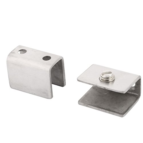 uxcell Metal Toilet Guardrail Door Window Glass Shelf Clamp Brackets Clips Holder 2 - Guard Rail Holder