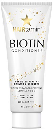 Hairtamin Biotin Hair Growth Conditioner, Promotes Healthy Growing Hair and Strength Thickening with a Vitamin Rich Formula in this Paraben and Sulfate Free Conditioner, Made with Wheat & Silk Protein