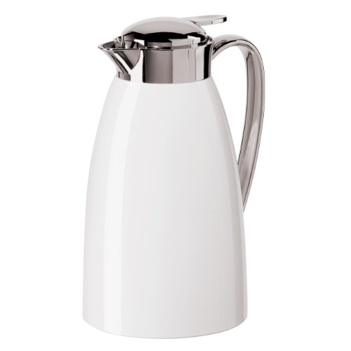 Oggi Gusto Carafe with Press Button Top and Glass Liner, 1-Liter, White