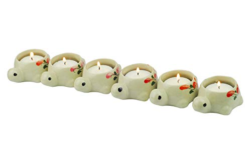 Tom Barrington Tea Light Candles in Ceramic Hand Painted Turtle Shaped Tea Light Candle Holders, Fits Standard Tea Light Candle, Pack of 6 (2 Light Barrington)