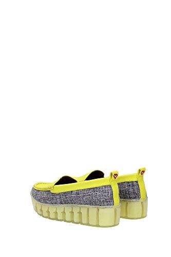 stefania - Mocasines de Lona para mujer Amarillo grigio e giallo