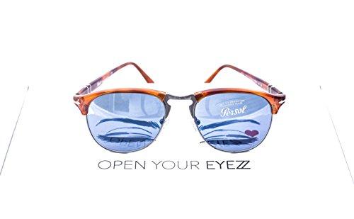 Persol PO8649S Aviator Mens Sunglasses. Color brown (9656). Blue lenses 100% - Po8649s