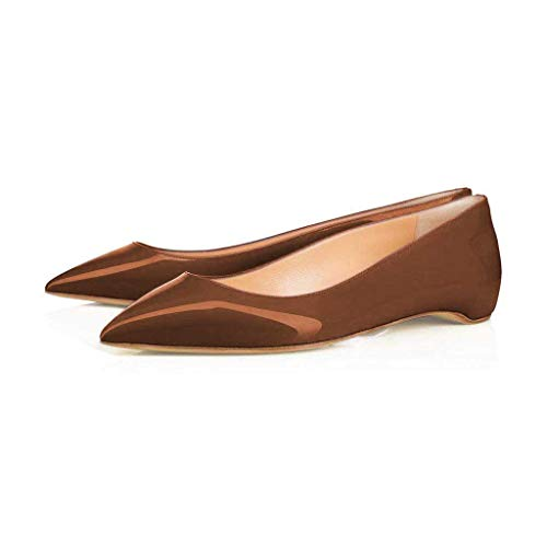 XYD Pointy Toe Slip On Flats Patent Hidden Low Heel Office Daily Walking Shoes for Women Size 7 Chocolate