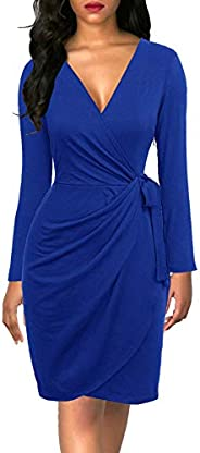 Berydress Women's Classic V-Neck Long Sleeve Casual Party Work Belted Knee-Length Sheath Faux Black Wrap D