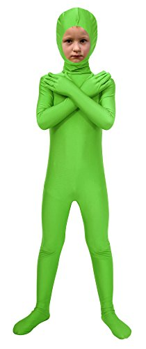 Sheface Spandex Face Out Second Skin Zentai Full Body Costume (Large, Lime Green)