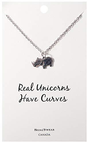 Shag Wear Favourite Animals Inspirations Quote Pendant Necklace (Rhino Pendant)