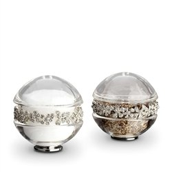 (L'Objet Platinum Garland Salt & Pepper Shakers Swarovski Crystals - White)