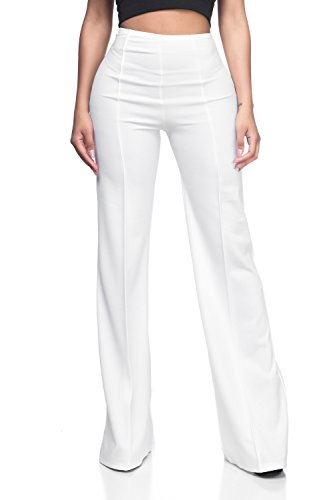 - Women's J2 Love High Waist Bell Bottom Flare Pants, Large, White