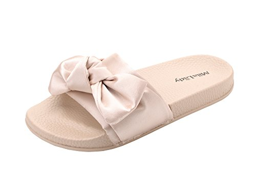 Satin Bow Sandals (Mila Lady Womens Summer Non-Slip Flip-Flops Sandals Slipper for Indoor Outdoor Beach Casual Shoes, Sandra NUDE7)