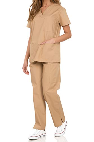 (029 Women's Uniform Scrub Sets Medical Scrubs Top and Pants Khaki L)