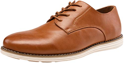 VOSTEY Men's Oxford Plain Toe Dress Shoes Business Casual Shoes (11,Yellow Brown-02) (Best Mens Business Casual Shoes)