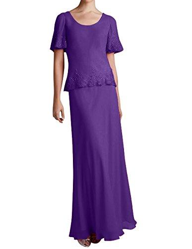 Promkleider Abendkleider Spitze mit La Bodenlang Brautmutterkleider Marie Lila Braut Damen Applikation Chiffon IzYawq