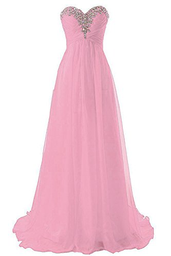 WAWALI Crystal Womens Chiffon Dresses Evening Party Prom Gowns 2 Pink