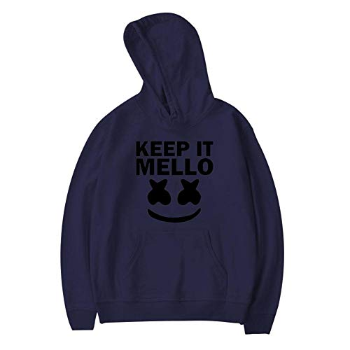 LOGvvl Creative Youth Pocket Hoodies,Keep It Mello Marsh-Mell-o Face Casual Printed Plush Sweater for Boy Girl M Navy ()