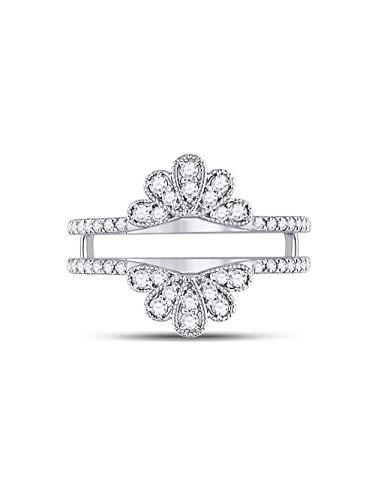 14kt White Gold Womens Round Diamond Milgrain Flower Petal Ring Guard Wrap Wedding Band 3/8 Cttw ()