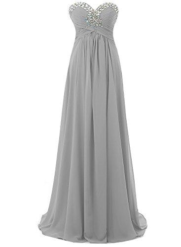 soie de Robe de en demoiselle d'honneur Argent Kmformals de perles mousseline bal Robes soire Cristaux en Robes de 58wnWzxHnP