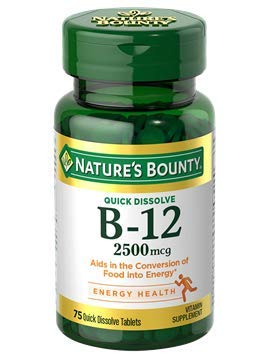 Nature's Bounty Quick Dissolve Fast Acting Vitamin B-12 2500 mcg, Natural Cherry Flavor (300 tablets) (B12 Vitamin 2500mcg Sublingual)