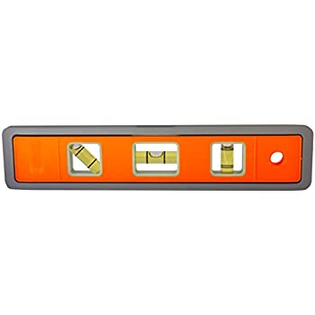 Johnson Level and Tool 5500M-GLO 9-Inch Magnetic Glo-View Aluminum Torpedo  Level with Rare Earth Magnets - 3 Vial