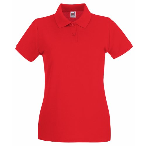 Fruit Of The Loom Lady-Fit Premium Polo Shirt S,Red