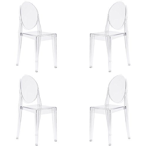 Poly and Bark Burton Side Chair In Clear (Set of 4) ()