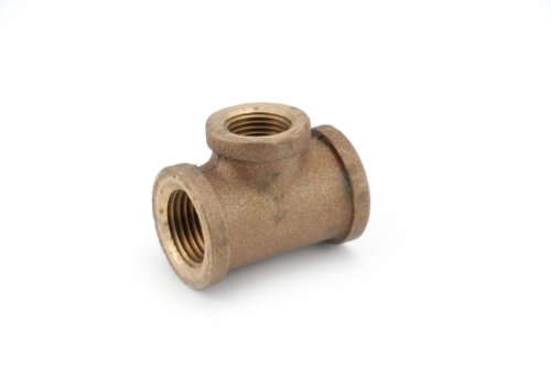 Anderson Metals 38106 Red Brass Pipe Fitting, Reducing Tee, 1/2