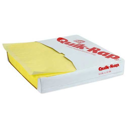 Quik Rap Yellow Highly Grease Resistant Sandwich Paper, 12 x 12 inch -- 5000 per case.