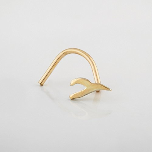 Gold Nose Stud, 14K Unique Indian Nose Screw Piercing, Wishbone Shaped, Fits Nostril, Tragus, Helix, Cartilage, Rook, 22 Gauge, Handmade Piercing Jewelry ()